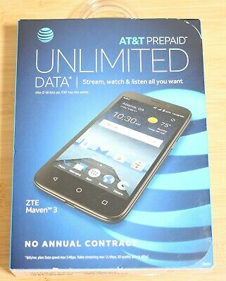 NEW ZTE MAVEN 3 AT&T 4G LTE Smartphone 8GB Blister sealed w/ all