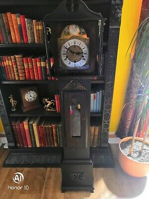Antique longcase grandmother clock in good working order
