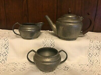1930's Arts and Crafts Howard Pewter Walker & Hall, Sheffield 3 x Pieces Tea Set