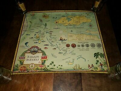 1950s Vintage Illustrated Map THE ISLANDS OF THE BAHAMAS - George Annand 19 X 22