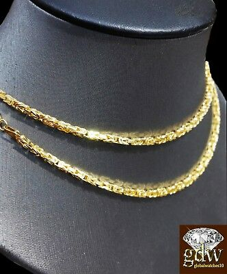Solid Gold Mens Necklace Real 14k Yellow G. Chain 26 Inch Byzantine Box, Lobster