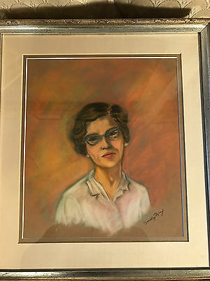 "Dorothy A Riley ""Female Portrait"" Pastel Painting - Signed And Framed"