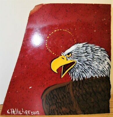 Painted Red Granite - Eagle - by Kevin Pelletier