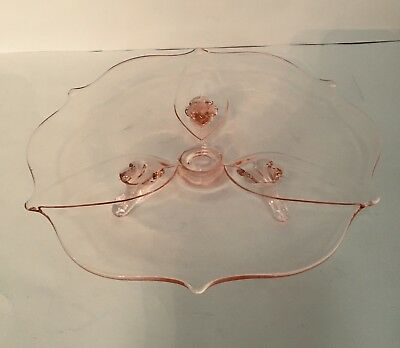"Vintage Pink Clear Glass 3 Footed 8 ""  Plate. Beautiful."