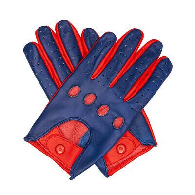 High quality Genuine Chauffeur Driving Leather Gloves, Motorcycle, Car,Blue/Red