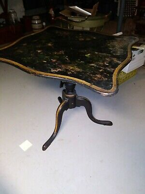 Vintage Wooden Tole Painted Tilt Top Table Floral Design
