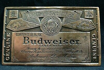 Vintage 70's - Copper Plated - Budweiser Label - Belt Buckle - Free Shipping