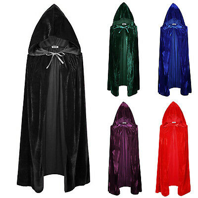 Hooded Velvet Cloak Cape Medieval Costume Witch Vampire Robe Cosplay