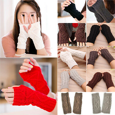 Women Girls Knitted Wool Fingerless Mittens Winter Arm Wrist Hand Warmer Gloves