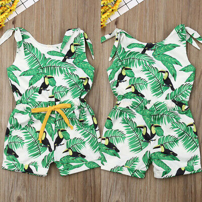 3f22fb017 New Baby Girls Summer Sling Tree Leaves Printed Cute One-Pieces Jumpsuit  Romper