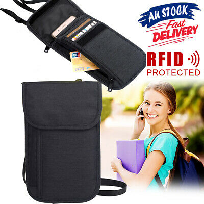RFID Pouch Travel Card Holder Security Stash Passport Blocking Neck Wallet Bag