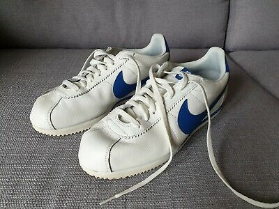low priced 2d040 ffb26 NIKE CORTEZ LEATHER Off white/cream blue tick Men's Trainers Size 11.