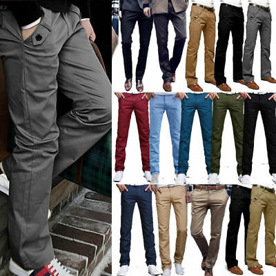 Mens Chino Trousers Stretch Straight Slim Fit Jeans Casual Formal Work Pants