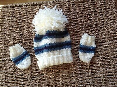 Brand New Hand Knit Cream Teal And Navy Stripes Aran Pom Pom Hat And Mitts 0/3Mo