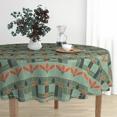Round Tablecloth Art Deco Geometric Jade Rust Red Green Gold Cotton Sateen