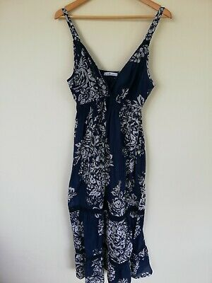 8a541a3d1e Size 16 BHS Vanilla Sands Blue and White Floral Cotton Maxi Dress Good Used  Cond