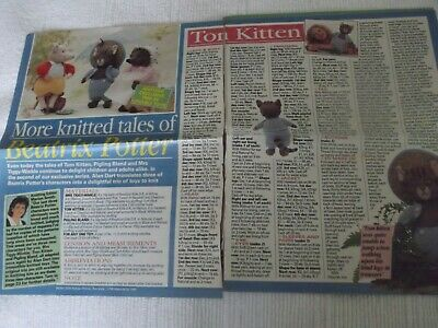 """""""KNITTED TALES of BEATRIX POTTER"""" soft toy PATTERNS, SUPPLEMENT by ALAN DART"""