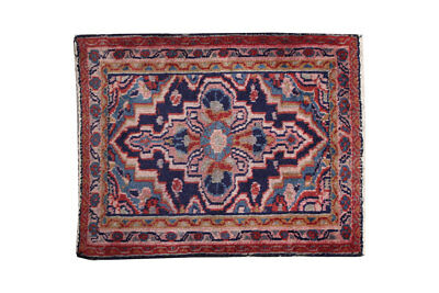 2x2 Vintage Oriental Blue Medallions Floral Hand Knotted Wool  Area Rug