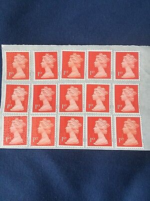 100x 1st First Class Unfranked Stamps. Full Original Gum
