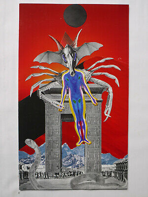 ORIGINAL COLLAGE surreal occult tarot wicca alchemy cthulu outsider psychedlic