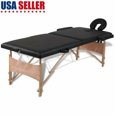 Portable Foldable  2 Zones Massage Table Bed with Wooden Frame Carry Case Black
