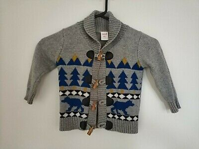 Seed fair-isle 100% grey cotton cardigan sz 2 with blue yellow wolves trees dets