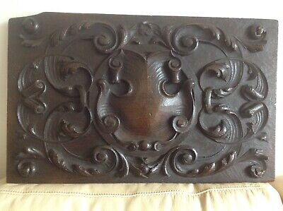 Antique 18 th Century Carved Oak Armorial Panel