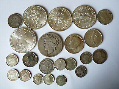 approx 198 grams of world silver coins,US,France.Mexico,Switzerland etc