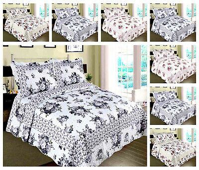 Bedspread 3 Piece Printed Patchwork Comforter Bed throw Bed Quilt Vintage Set