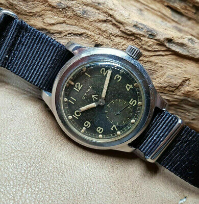 Very Rare 40'S W.w.w. Cyma Dirty Dozen Original Black Dial Man's Watch