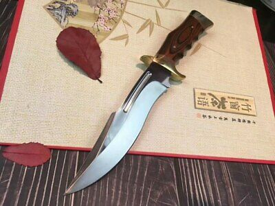 New Wood Handle Mirror Light Boot Dagger Survival Fixed Bowie Hunting Knife SA78