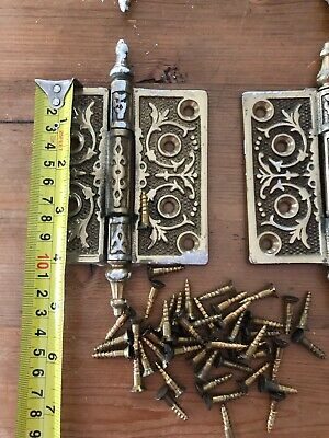 Lot of Six Antique Egyptian Motif Victorian Eastlake Heavy Brass Door Hinges