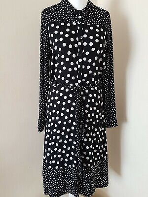 Next Monochrome Spotty Mix Polka Dot Shirt Belted Dress Black White 12T 14P 14T