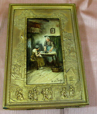 """Antique Porcelain Painting Gilt Bronze Bas Relief Scenery Frame Sgn; 8.75""""T"""