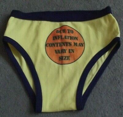 Vintage 70s Mens Nylon Yellow & Navy Knickers Pants Briefs Y Front Slogan Hippy