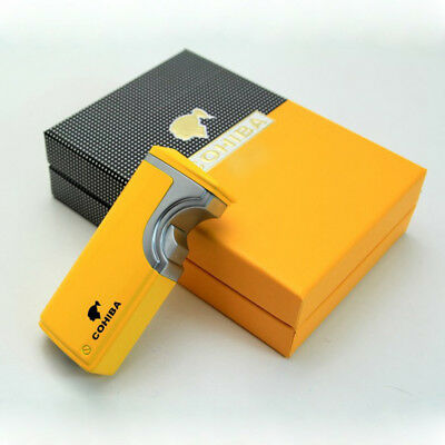 NEW COHIBA YELLOW METAL USB Recharge 3 TORCH JET FLAME CIGAR  LIGHTER W/PUNCH