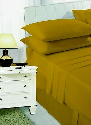 Mustard Fitted Flat Sheet V Pillow Case Single Double 4FT King Super King Size