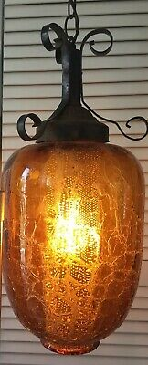 Vintage Amber Crackle Glass Hanging Swag Light Lamp Diffuser Mid Century Gothic.