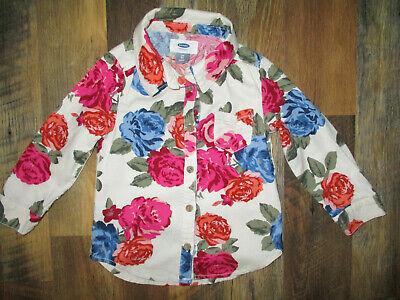 Old Navy Top ~ Shirt Toddler Girls 2T Button Up Long Sleeve Floral Print