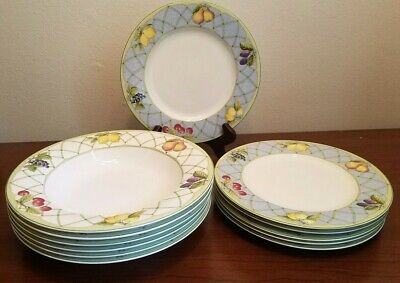 12pc Mikasa Optima Fruit Rapture (6) Salad Plates (6) Soup Bowls Excellent Used