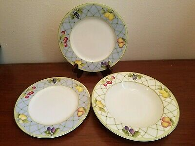 4pc Mikasa Optima Fruit Rapture (3) Salad Plates (1) Soup Bowls Excellent Used