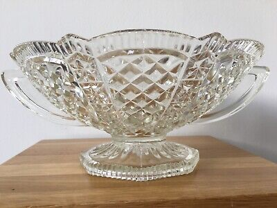 Vintage Large Cut Glass Patterned Fruit/food Bowl With Handles VGC