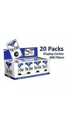 NIC OUT 20 pack Cigarette Filters 600 Tips Fiter Out Tar & Nic MSRP:$59.99