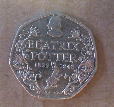 150th anniversary rare (circulated) 50p coin Beatrix Potter 1866-1943
