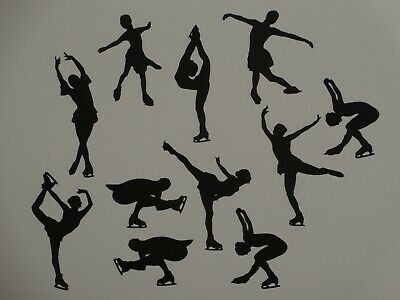 GIRL ICESKATER ICE SKATING SILHOUETTE x 10 Die Cuts  Quality Black Card
