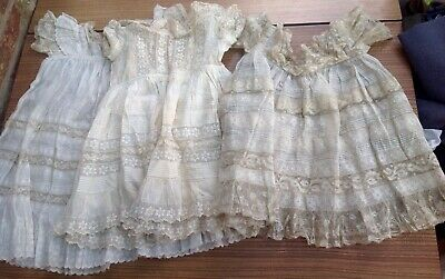 3 Antique Victorian/ Edwardian Child's Lace Dresses Christening Belgian?