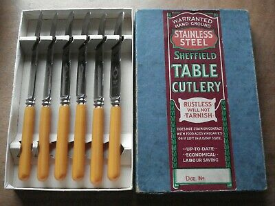 Vintage Sheffield Table Cutlery Boxed 6 Tea/Butter Knives.Lovely Advertising Box