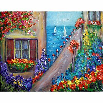 Italy Water Flowers Old Buildings Original Impasto Oil Painting Canvas Textured