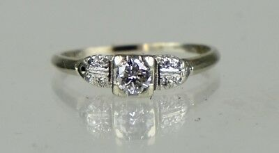 Vintage Art Deco 14-18K Gold Diamond .40ct Engagement Ring Quality ER1130