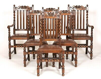 Antique Jeffrey Sons & Co 6 Victorian Oak Barley Twist Carved Dining Chairs